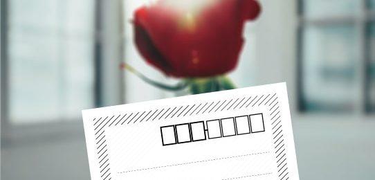 ストライプ・フレームの「郵便宛名」シート